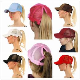Wholesale baseball hat hooks - 13 Colors CC Ponytail Ball Cap Messy Buns Trucker Ponycaps Plain Baseball Visor Cap Dad Hat CC Ponytail Snapbacks CCA9339 50pcs