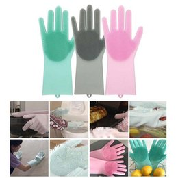 car hair Coupons - Magic Silicone Scrubber Rubber Cleaning Gloves Dusting|Dish Washing|Pet Care Grooming Hair Car|Insulated Kitchen Helper Free Shipping