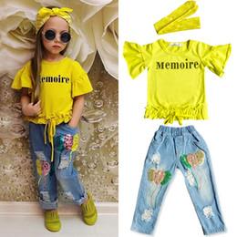 INS nuevos estilos trajes de verano para niños algodón puro manga corta hoja de loto camiseta + Jeans con agujeros en lentejuelas + diadema tres conjuntos gi desde fabricantes