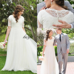 Wholesale White Simple Informal Wedding Dresses - A-Line Lace Tulle Beach Modest LDS Wedding Dresses 2018 Short Sleeves Cheap Simple Summer Garden Informal Reception Mature Bridal Gowns