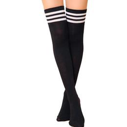 Weibliche sportkleidung sexy online-2018 winter hote verkauf oberschenkel hohe sexy baumwolle socken frauen über knie gestreift mädchen dame strümpfe für weibliche winter sportbekleidung