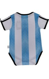Wholesale Names Baby - Can Custom any name number Best Quality 2018 World Cup Argentina Maradona Messi children's wear Boy Girl infant baby One-piece suit clothes
