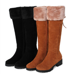 Wholesale c wool - 2018 new Knee High Women Snow Boots Warm Winter Long Boots Wool Blended mid Heel Women Shoes size 33-44