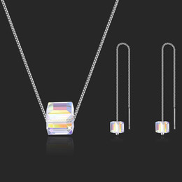 collar de piedras semipreciosas verde Rebajas Pendientes Set collar de cristal Austria - cuadrado mágico de cristal dulces de Swarovski diarias accesorios de la joyería de ocio
