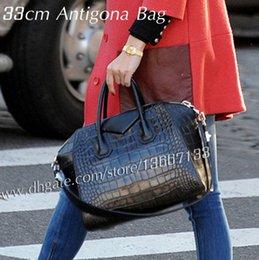 Grand sac en cuir de vachette en Ligne-Top qualité femmes véritable cuir de vachette moto sac à main fourre-tout 33cm noir alligator Antigona sac mode marque sacs à bandoulière 28cm