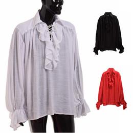 d99e334b6be Discount medieval clothing - Vintage Men White Ruffled Pirate Shirt  Medieval Renaissance Poet Vampire Colonial Jabot