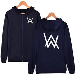 Wholesale Dj Blend - Men Clothing DJ Alan Walker AW Hoodies Men Pullovers with Letter Print Hooded Tops Long Sleeve Sweatshirts
