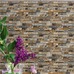 Murais de pedra on-line-Parede de Tijolo 3D Papel De Parede Estereoscópico Faux Stone Wallpapers para Sala de estar TV Fundo Papel De Parede De Vinil Papier Peint Mural 3D
