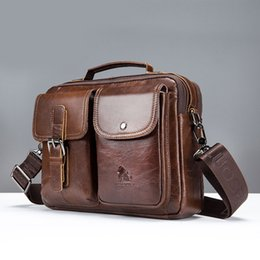 Promotions New Genuine Leather Men s Handbag Casual Business Man Shoulder  Crossbody Bags Cowhide Large Capacity Travel Tote Bags 15cbdc84768e4