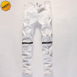 Wholesale 2018 Indoor Casual Locomotive Ripped hole Knee Zipper feet pants  men spring patch white Color cut jeans male Plus size 665ff6b19