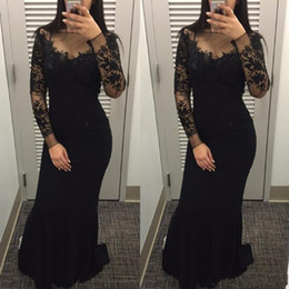 Wholesale Special Occasion Floral Gown - 2018 Black Mermaid Prom Dresses Sheer Neck Long Sleeve 3D Floral Lace Applique Sweep Train Cheap Custom Special Occasion Party Evening Gowns