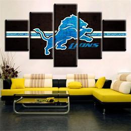 2020 arte da lona do leão O papel de parede home moderno da pintura da lona imprime leões azuis de detroit da arte da parede de Deco da sala de visitas arte da lona do leão barato