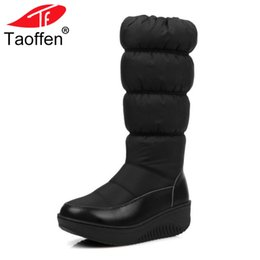 c582773703b Taoffen Casual Women s Mid Calf Winter Fashion Boots Warm Fur Lined Cotton  Leather Low Wedge Slip On Snow Boots Women Size 35-44