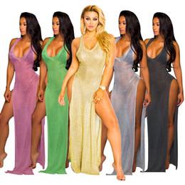 Wholesale womens long length coats - Womens Long Beach Skirt Sunscreen blouse Swimwear Deep V perspective dress Sexy dress Pure color coat