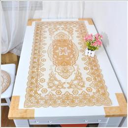 quadratische stickerei tischdecken Rabatt Tee-Tabellen-Matten-Stickerei-Tabellen-Läufer-Sonnenblume-Entwurf überlagert dauerhafte Polyester-Tischdecken waschbare PVC-Tafeln