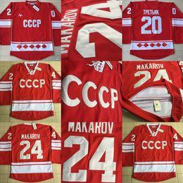 Wholesale Russia Hockey - 24 Sergei Makarov 1980 CCCP Russia Hockey Jersey 20 Vladislav Tretiak Jersey Mens All Stitched Red Throwback Hockey Jerseys Cheap Mix Order