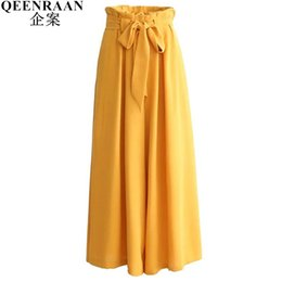 Wholesale Loose Trousers For Women - New High Waist Wide Leg Pants For Women Loose Lace-up Long Pant Fashion Female Pleated Straight Trousers Black Yellow