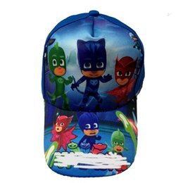 Wholesale Cartoon Birthday Caps - Kids Favors Lovely PJmasks Cartoon Theme Hats Happy Birthday Party Baby Shower Caps Decoration Events Supplies