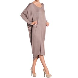 Wholesale Long Summer Womens Cotton Dresses - Temperament Womens Ladies Dress Pure Color Autumn Long Sleeve Cotton Overall Loose Plugsize Knee Length Longuette