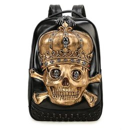 Wholesale Female Computer Bags - Trend 3D skull backpack personality fashion travel male and female students computer tablet bag Free shipping