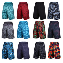 Wholesale Loose Army Pants - S-2XL New Zipper Pocket Short Sport Running Short Pants Gym Joggers Surf Pantaloncini Men Print Blue Basketball Shorts