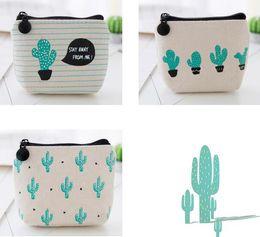 Wholesale Wholesale Mini Cacti - NEW Creative cactus printed Coin purse canvas key holder wallet hasp small Christmas gifts bag clutch handbag free shipping