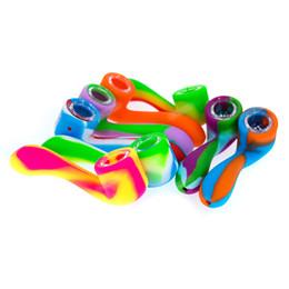 Pipe à chicha portable en Ligne-Multi-couleur 1 pc Portable Main Spoon Pipe Silicone Shisha Pipes avec bol en verre Tabacco Fumer De L'eau Pipes Narguilé Bongs pipes Livraison gratuite