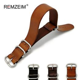 22mm sangle zulu Promotion REMZEIM ZULU Bracelet Cuir Montre OTAN Bracelet Bandoulière 18mm 20mm 22mm Sliver Anneau Boucle Hommes Femmes Haute Qualité Montre Accessoires