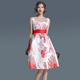 Wholesale Chiffon Casual Style Dress - Loose Summer dress for women A line Sleeveless Cute style Floral print Empire Midi dresses S-XL