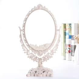 зеркало тщеславия 360  Скидка Double Sides  Mirror 360 Degree Rotating Desktop Table Mirrors Retro European Style Oval Beauty Cosmetic Vanity Mirror