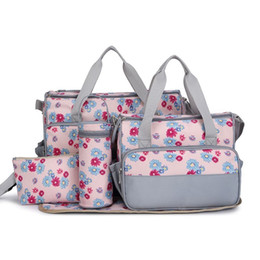 Wholesale Maternity Leopard Print - Hot 5 Pieces Multifunctional Fasion Nappy Maternity Diaper Bags Brand Baby Bags For Mom Striped Floral Leopard Mummy Mother Bag