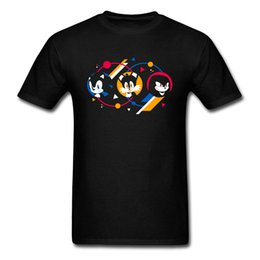 Ropa de hombre joven online-Camiseta Fast Spirits Hombre Sonic The Hedgehog Camiseta Cartoon Tshirt Black Blue Tops Camisetas Young Style Game Clothing