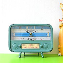 Argentina Nostalgia Estilo Europeo Radio de Hierro Forjado Modelo Escritorio Reloj Sala de estar Oficina Relojes Pendulum Decoración para el hogar cheap work radios Suministro