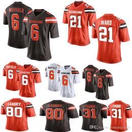 5ebb02103 Cleveland Browns 6 Baker Mayfield 21 Jersey von Denzel Ward 80 Jarvis  Landry 95 Myles Garrett 73 Thomas 5 Tyrod Taylor 22 Jabrill Pepper Chubb  günstig myles ...