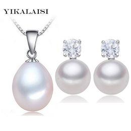 YIKALAISI 2017 100% natural de agua dulce conjunto de perlas colgante Stud pendientes 925 joyería de plata esterlina collar de gargantilla para mujeres desde fabricantes