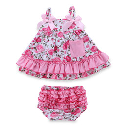Wholesale Retail Jumpsuits - Retail Summer Baby Girl Clothing Set Sleeceless Cotton Baby Dress Newborn Belt Girl Clothes Infant Kleding Jumpsuits