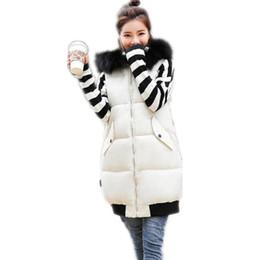 maglia jean blu lunga Sconti Alta qualità Nuove donne autunno inverno addensare Vest 2018 collo di pelliccia con cappuccio giù giubbotto di cotone femminile allentato caldo casuale CQ2246