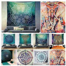 Wholesale towel hang - 150*130cm polyester Bohemian Tapestry Mandala Beach Towels Hippie Throw Yoga Mat Towel Indian Polyester wall hanging Decor KKA4499