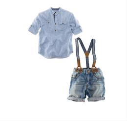 Conjunto de trajes de ropa de primavera y verano para bebés recién nacidos de 0 a 4 años Trajes de traje para niños Camisa de solapa de manga larga para niños + jeans con banda elástica desmontable desde fabricantes