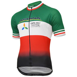 Wholesale Astana Cycling Team - 2018 pro team astana italy flag summer mens Cycling jerseys breathable bike clothing MTB Ropa Ciclismo Bicycle maillot only