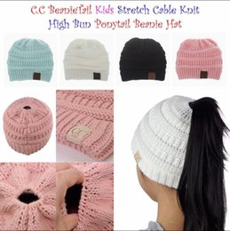 Wholesale Oversized Knitted Hat - Kids CC Ponytail Hats Knitted CC Trendy Beanie Winter Oversized Chunky Skull Caps Soft Cable Knit Slouchy Crochet Hats Outdoor Hats YYA991