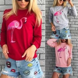 Argentina Venta caliente Cartoon Flamingos Pattern Impreso Mujeres Camisetas 2018 Spring Wear Long Sleeves Crew Neck Algodón Señora casual Sudaderas Baratas! Suministro