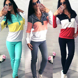 Wholesale football candy - Spring Candy Color Patchwork Tracksuits Women Sport Wear Women Casual Suit Sweet Hooded Sweatshirt With Slim Pant 2pc Set