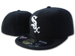 Wholesale red sox cap adjustable - Classic White Sox On Field Fitted Hats in black Color White Letter S-O-X Embroidered Baseball Closed Caps Free Shipping