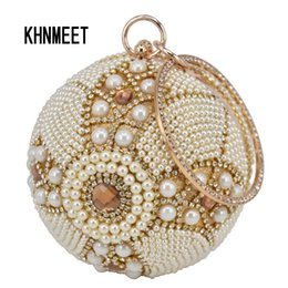 Borse da sposa perla online-Pochette da polso da uomo in oro con palline dorate e perline