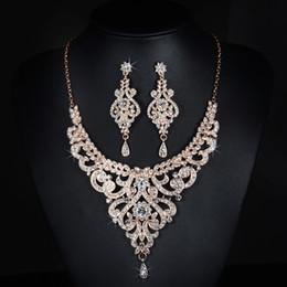 Wholesale Korean Handmade Earrings - Bridal necklace Jewelry Set Korean version earrings necklace Wedding sets accessories gold Rhinestones handmade jewelry