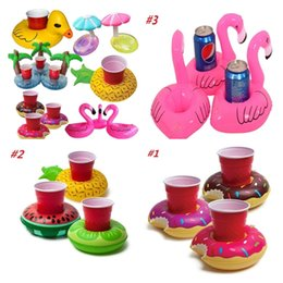 Wholesale new pool - New Cup Float Flamingo Cup Holder Coasters Inflatable Drink Holder for Swimming Pool Air Mattresses for Cup Party Supplies I175