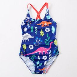 a66112296a009 Girls Swimwear Beach Kids Cartoon Dinosaur One-piece Swimsuit Baby Swimming  Clothes Summer Fashion Children Bikini
