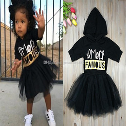 Wholesale Girls Hooded Dress - 2018 Boutique baby girls Letter printing Hooded dress cartoon TUTU lace Princess dresses Kids Clothing C3347