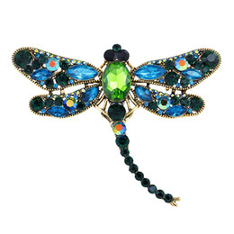 Wholesale Vintage Dragonfly Brooch Rhinestones - Vintage Design Shinny Crystal Rhinestone Dragonfly Brooches for Women Dress Scarf Brooch Pins Jewelry Accessories Gift